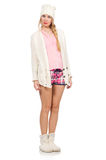 The pretty smiling girl in pink jacket isolated on white Royalty Free Stock Image