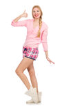 The pretty smiling girl in pink jacket isolated on white Stock Photo
