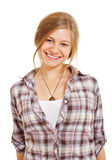 Pretty smiling girl in shirt stock photography
