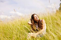 Pretty smiling girl summer outdoor Stock Image
