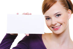 Pretty Smiling Girl With Blank Card Stock Photos