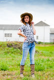 Pretty teenage girl in cowboy hat Stock Photos