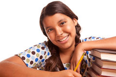 Pretty Smiling Hispanic Girl Studying Royalty Free Stock Photos