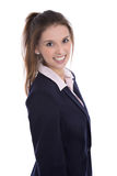 Pretty smiling isolated young businesswoman with white teeth. Royalty Free Stock Photography