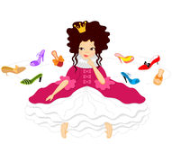 Pretty Smiling Princess Chooses Shoes Stock Image