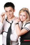 Pretty smiling student pair. Isolated Stock Images