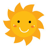 Pretty smiling Sun clipart isolated on white Stock Images