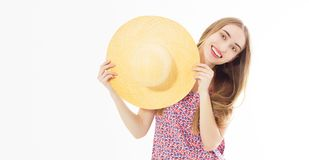 Pretty smiling teen summer woman in hat - close up isolated on white.  royalty free stock images