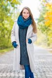 Pretty Smiling Woman in Cozy Autumn Outfit Style Royalty Free Stock Photography