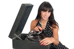 Pretty smiling woman with gramophone Stock Photo