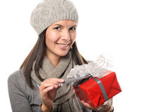 Pretty Smiling Woman Holding Gift Box Stock Photography