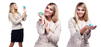 Pretty smiling woman holding a world globe. Business woman Stock Photos