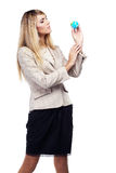 Pretty smiling woman holding a world globe. Business woman Royalty Free Stock Photo