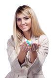 Pretty smiling woman holding a world globe. Business woman Stock Photo