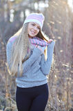 Pretty smiling woman outdoor fashion portrait Royalty Free Stock Image