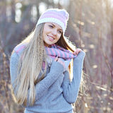 Pretty smiling woman outdoor fashion portrait Royalty Free Stock Photos
