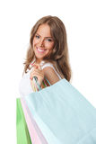 Pretty Smiling Woman With Paper Bags Royalty Free Stock Images