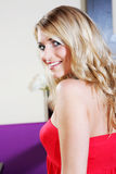 Pretty Smiling Woman in Red Tube Top Stock Images