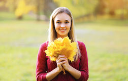 Pretty smiling woman with yellow maple leafs in autumn day Stock Photo