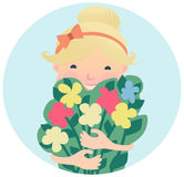 Pretty Smiling Young Girl with Bouquet of Flowers Royalty Free Stock Photo