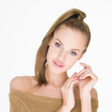 Pretty Smiling Young Woman in Off Shoulder Dress Stock Photos