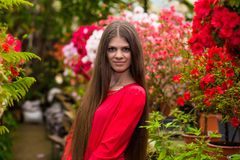 Pretty smiling young women with very long hair in a red blouse Royalty Free Stock Photos