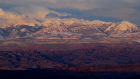 Pretty Snow Covered Mountain Sunset  - Time lapse. Time Lapse of sunset in Utah.  Shot with a Nikon D300s stock video footage