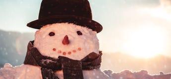 Pretty snowman portrait stock photo