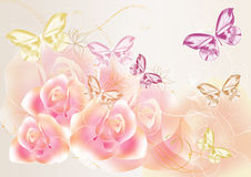 Pretty soft roses design Stock Image
