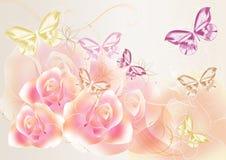 Pretty soft roses design Stock Image