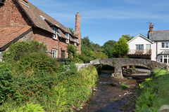 Pretty Somerset village scene. Allerford is a village in the county of Somerset, England, located within Exmoor National Park, and is part of the parish of Royalty Free Stock Photo
