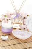 Pretty spa setting. Items for relaxing in spa Stock Photo