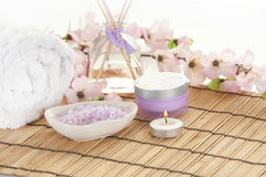Pretty spa setting. Items for relaxing in spa Stock Photos