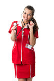 Pretty  spectacled women  doctor  showing stetoscope Stock Photos