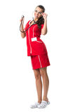 Pretty  spectacled women  doctor with stetoscope  in red dress. Pretty  spectacled woman  doctor with stetoscope  in red dress Stock Photo