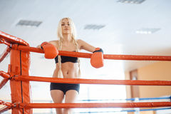 Pretty sport woman with boxing gloves Stock Photography