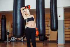 Pretty sport woman with boxing gloves Stock Image