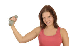 Pretty sportswoman with weights Stock Photo
