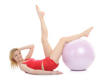 Pretty sporty fitness woman with pilates ball Stock Photo