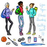 Pretty sporty women chatting Stock Photography