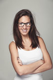 Pretty sporty young woman wearing glasses Royalty Free Stock Image