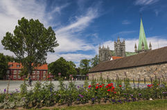 Pretty Sqaure and Trondheim Cathedral Royalty Free Stock Photography