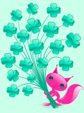 Pretty squirrel with shamrock. Stock Photo