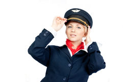 Pretty stewardess Royalty Free Stock Photography
