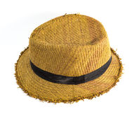 Pretty straw hat. Brown straw hat isolated on white background Royalty Free Stock Image