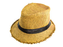 Pretty straw hat. Brown straw hat isolated on white background Stock Image