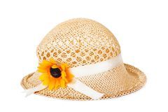 Pretty straw hat with flower Stock Photo