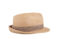 Pretty straw hat isolated on white background Royalty Free Stock Photography