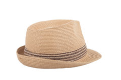 Pretty straw hat isolated on white background Royalty Free Stock Photos