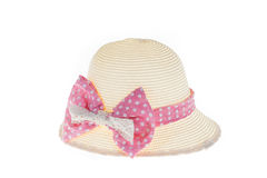 Pretty straw hat with pink ribbon on white background. Isolated Royalty Free Stock Photography